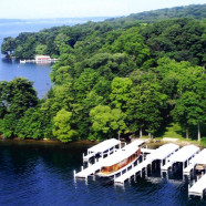 Boats Docked On Lake