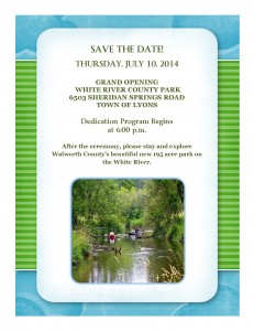SAVE THE DATE FOR WHITE RIVER COUNTY PARK OPENING JULY 10