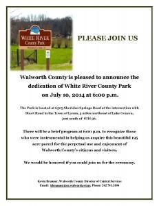 INVITATION TO WHITE RIVER PARK DEDICATION